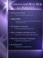 resources and more help for parents
