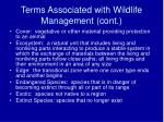 terms associated with wildlife management cont