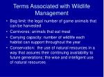 terms associated with wildlife management