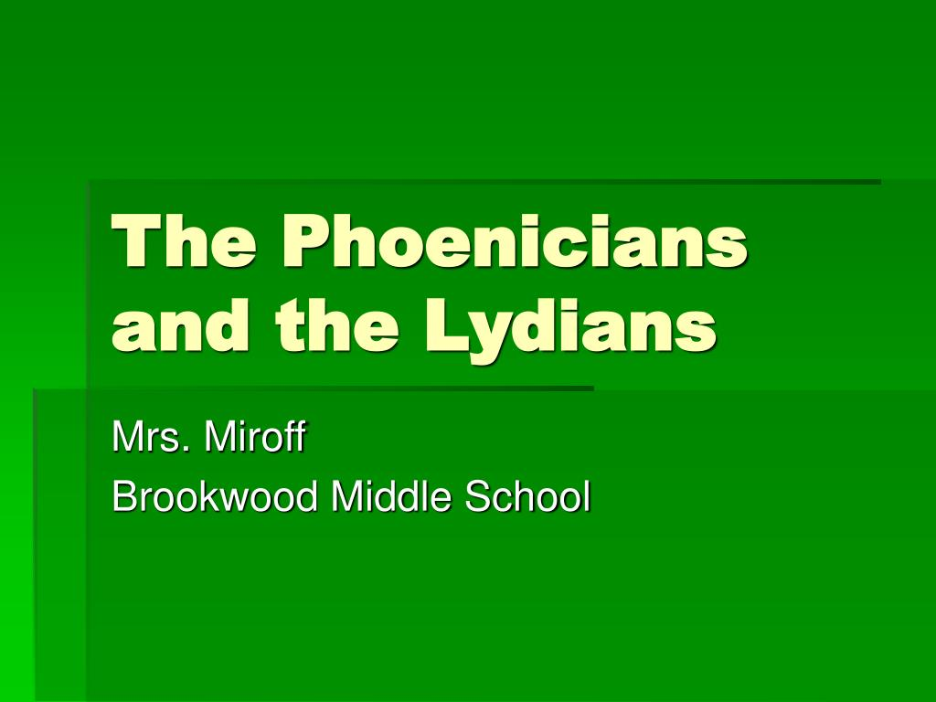 the phoenicians and the lydians l.