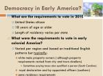 democracy in early america