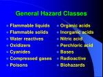 general hazard classes