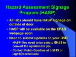 hazard assessment signage program hasp