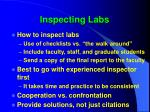 inspecting labs