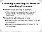 evaluating advertising and return on advertising investment