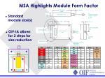 msa highlights module form factor