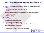 tunable interface networking requirements