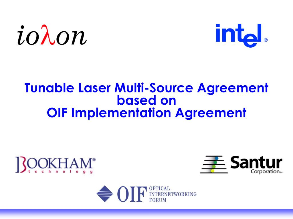 tunable laser multi source agreement based on oif implementation agreement l.