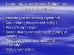 learning journals and reflection student examples