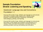 sample foundation strand listening and speaking
