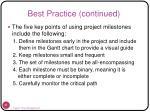 best practice continued