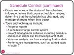 schedule control continued