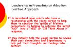 leadership in promoting an adoption positive approach