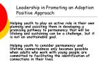 leadership in promoting an adoption positive approach26