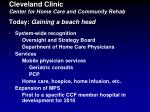 cleveland clinic center for home care and community rehab today gaining a beach head