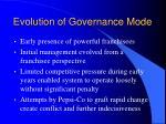 evolution of governance mode