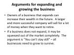 arguments for expanding and growing the business10