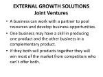 external growth solutions joint ventures