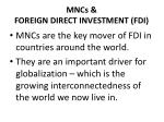 mncs foreign direct investment fdi