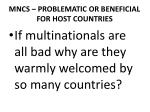 mncs problematic or beneficial for host countries