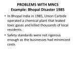 problems with mncs example bhopal disaster 1985
