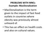 problems with mncs example macdonalization