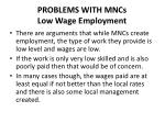 problems with mncs low wage employment