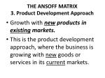 the ansoff matrix 3 product development approach