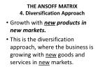 the ansoff matrix 4 diversification approach