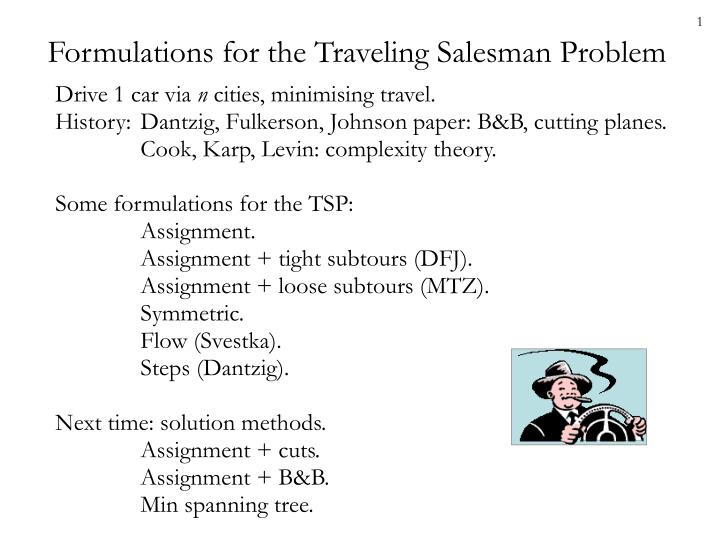formulations for the traveling salesman problem n.
