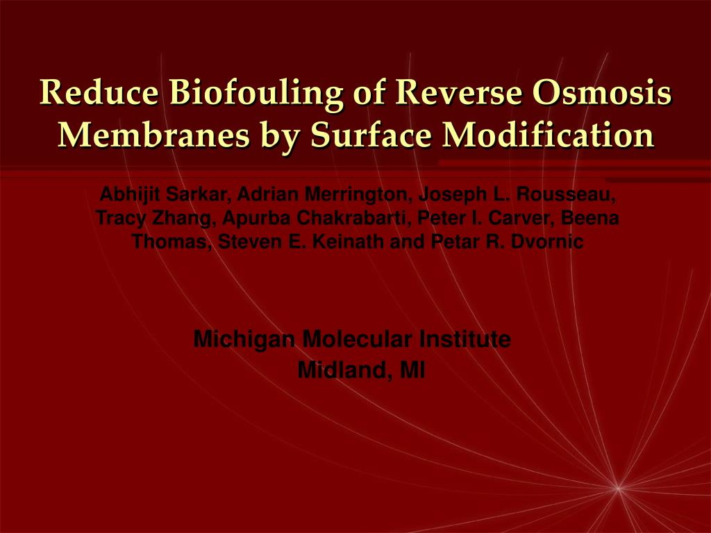 reduce biofouling of reverse osmosis membranes by surface modification l.