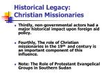 historical legacy christian missionaries