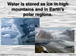 water is stored as ice in high mountains and in earth s polar regions