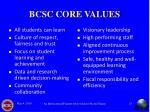 bcsc core values