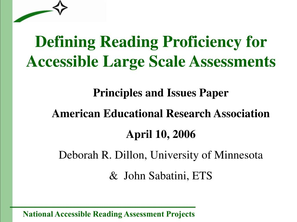 defining reading proficiency for accessible large scale assessments l.