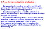 1 need for increasing food production