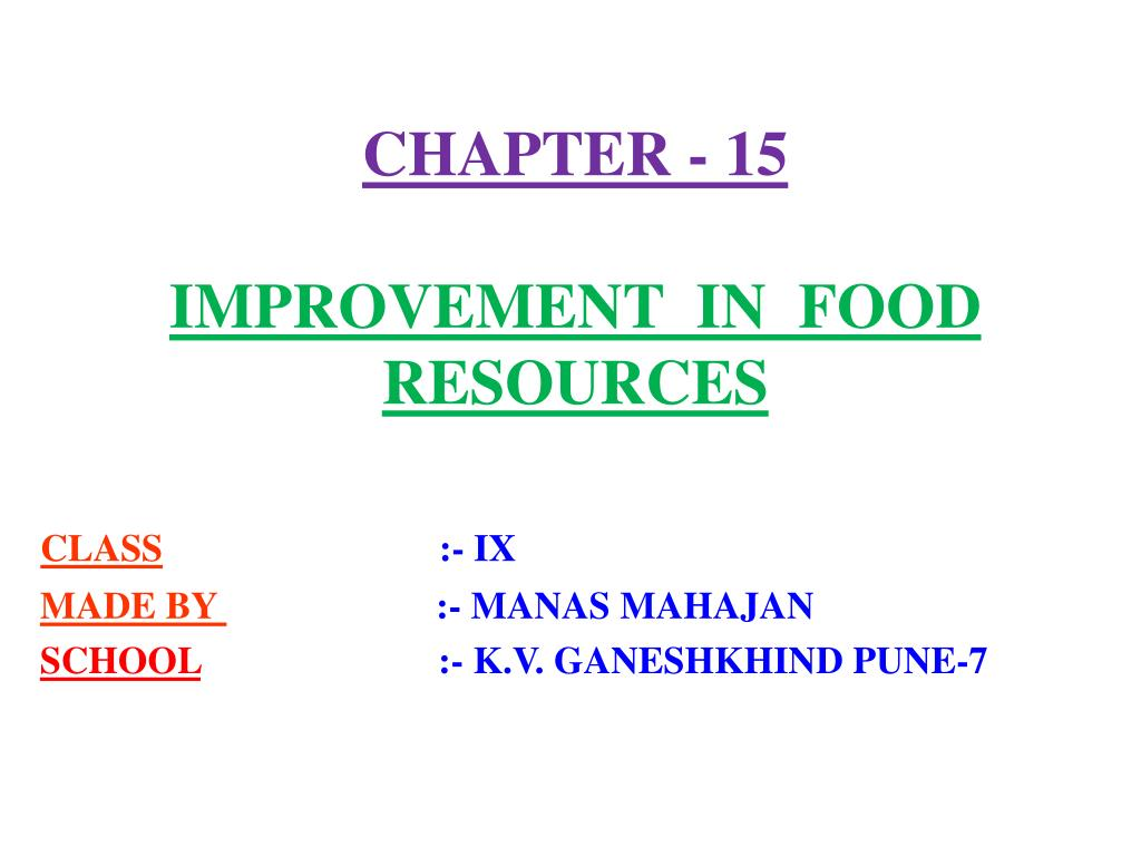 chapter 15 improvement in food resources l.