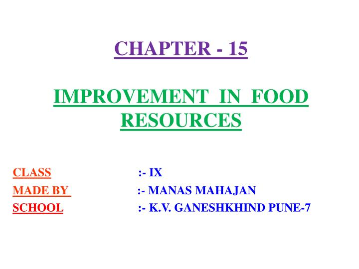 chapter 15 improvement in food resources n.