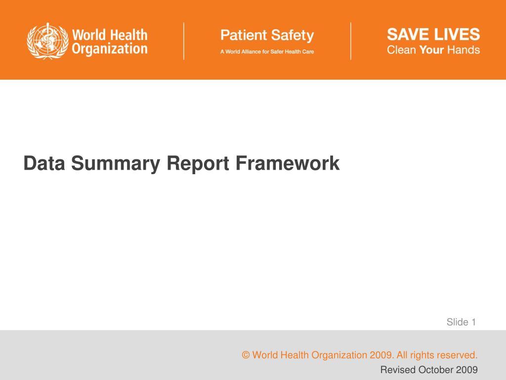 data summary report framework l.
