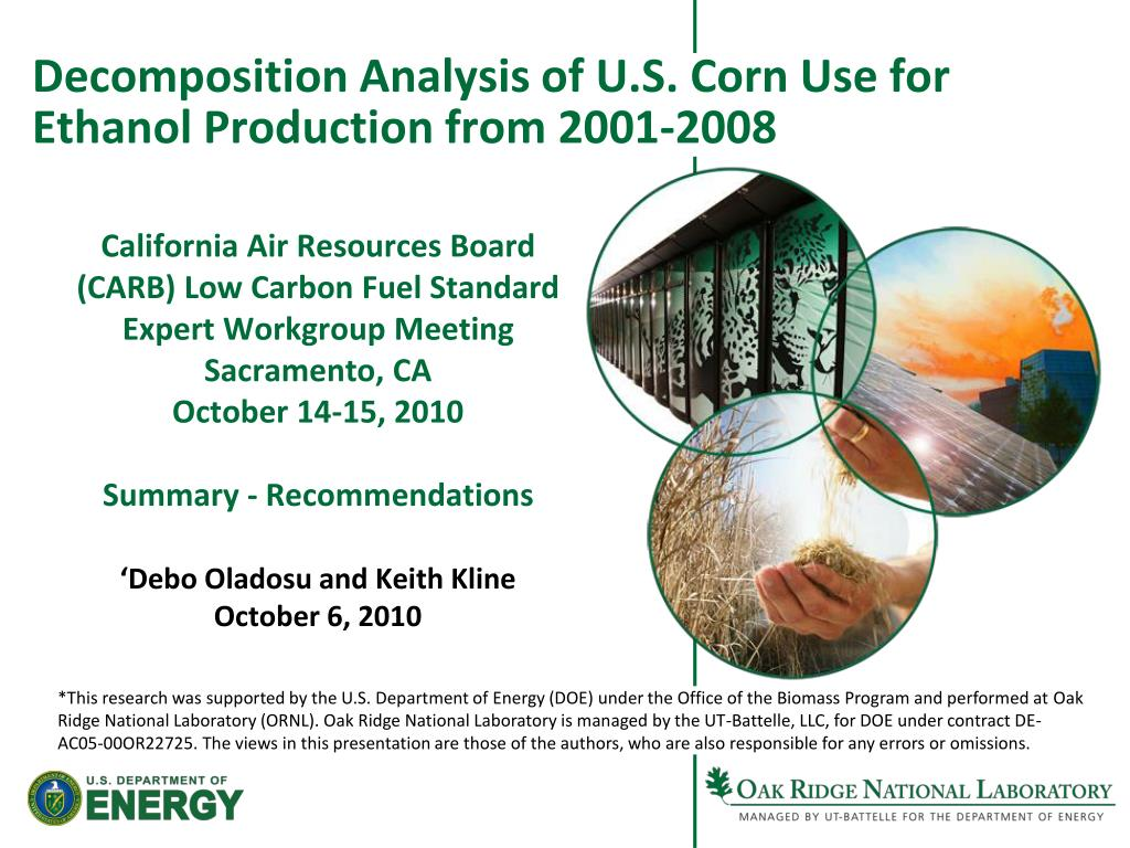 decomposition analysis of u s corn use for ethanol production from 2001 2008 l.
