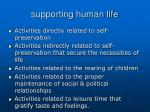 supporting human life
