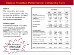 analyze historical performance computing roic