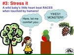 3 stress it a wild baby s little heart beat races when touched by humans