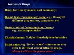 names of drugs