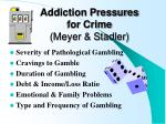 addiction pressures for crime meyer stadler