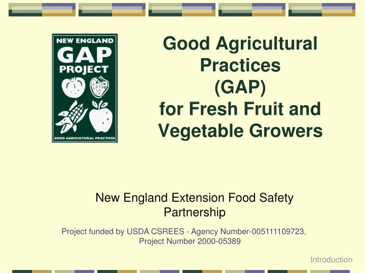 good agricultural practices gap for fresh fruit and vegetable growers n.