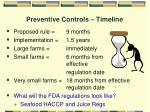 preventive controls timeline