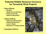 potential wildlife resource concerns for terrestrial wind projects
