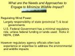 what are the needs and approaches to engage to minimize wildlife impact
