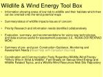 wildlife wind energy tool box